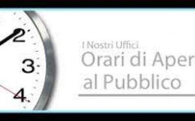 Orari di Apertura al Pubblico degli Uffici Comunali